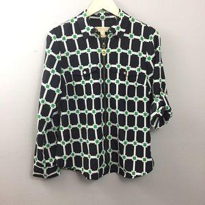MK Michael Kors Blue White Green Print Zip Blouse